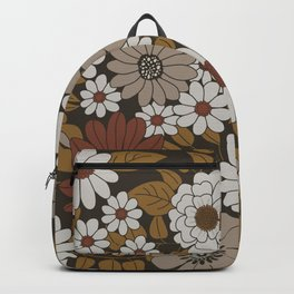 Brown, Orange, and Ivory Retro Flower Pattern Backpack