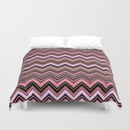 Zigzag Pattern, Chevron Pattern - Brown Pink Duvet Cover
