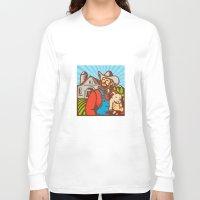 piglet Long Sleeve T-shirts featuring Pig Farmer Holding Piglet Barn Retro by patrimonio