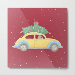 Vintage Car Christmas Tree Bear Driver Metal Print
