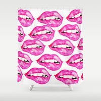 lip Shower Curtains featuring Lip Service by Talula Christian