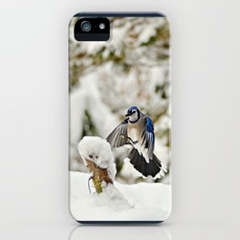 Blue Jay action iPhone Case