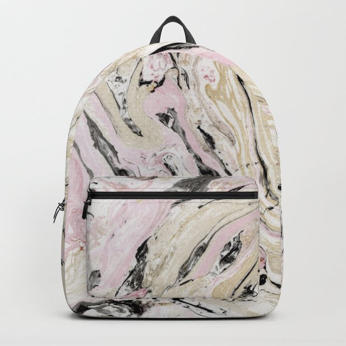 Pink and gold marble Backpack