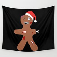 ginger Wall Tapestries featuring Zombie Gingerbread Christmas by bitobots