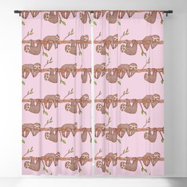 Lazy Baby Sloth Pattern in Pink Blackout Curtain