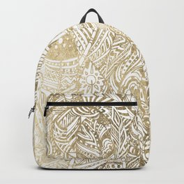 Elegant gold foil bohemian aztec feathers Backpack