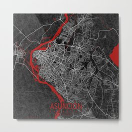 Asunción City Map of Paraguay - Oriental Metal Print