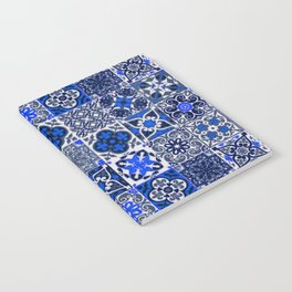 -A34- Blue Traditional Floral Moroccan Tiles. Notebook