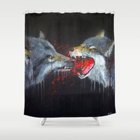 wolves Shower Curtains featuring Wolves by Yanin Ruibal