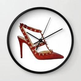 Valentino Rockstud pumps fashion illustration red gold Wall Clock