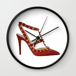 Valentino Rockstud pumps fashion illustration red gold Wall Clock