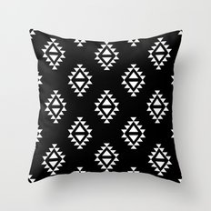 Linocut southwest minimal pattern black and white print scandinavian minimalism Throw Pillow
