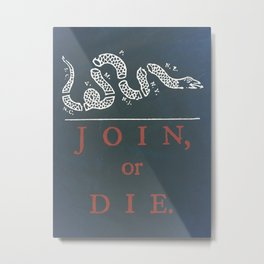Join or Die Snake (red, white, and blue) Metal Print