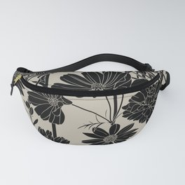 Flowers Print, Black and Beige, Floral, Plant Drawing Fanny Pack