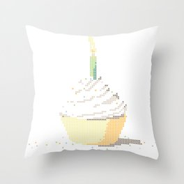 Happy Birthday Cupcake in a Real Cross Stitch Pattern - Color Coded Chart - Wearable Fiber Art Patte Throw Pillow