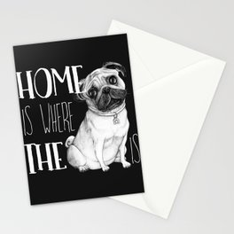 Home Is Where The Dog Is (Pug) Black Stationery Cards