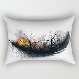 Fire Feather • Black Feather (horizontal) Rectangular Pillow