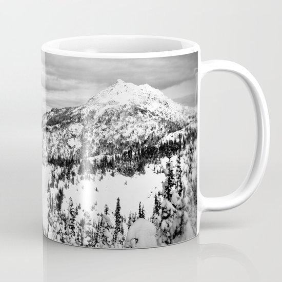 Snowy Mountain Peak Black and White Mug