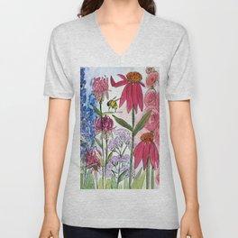 Watercolor Acrylic Cottage Garden Flowers Unisex V-Neck