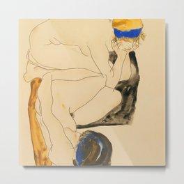 "Egon Schiele ""Zwei Liegende Figuren"" Metal Print"
