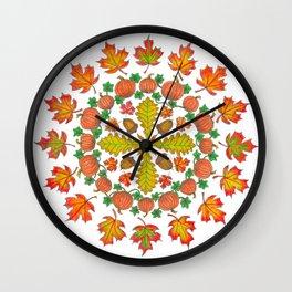 Autumn Mandala Wall Clock