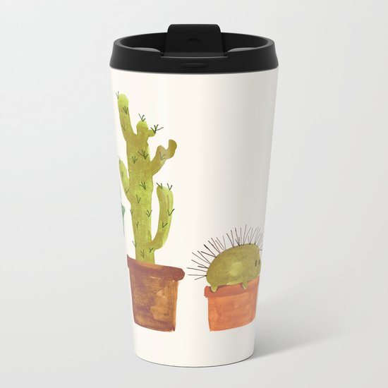 Hedgehog and Cactus (incognito) Metal Travel Mug
