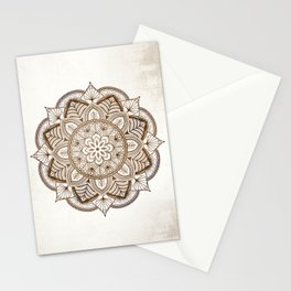 Mandala Brown Floral Pattern on Beige Background Stationery Cards