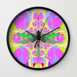 Emerald Green Dragonfly Pink Abstract Wall Clock