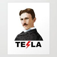 tesla Art Prints featuring Tesla by Vi Sion