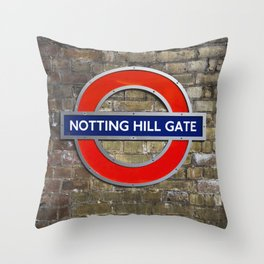 Notting Hill Gate Tube Sign Throw Pillow