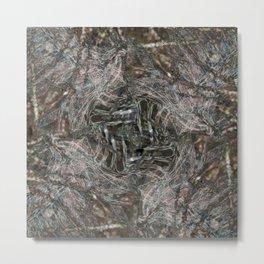 Feathers and bones -Desert sand Metal Print