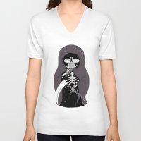 death V-neck T-shirts featuring Death by Joel Amat Güell