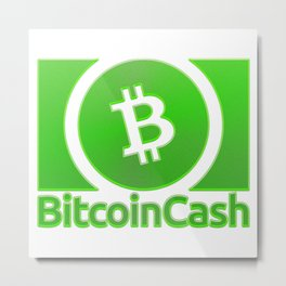 Bitcoin Cash BCH Green 1 With Sand Effect Logo Metal Print