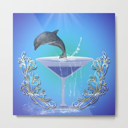 Dolphin jumping out of a glass  Metal Print