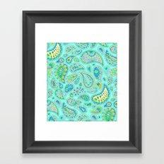 Lemon, Mint and Lime Paisley Framed Art Print