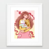 bee and puppycat Framed Art Prints featuring Bee and Puppycat by MW Illustration