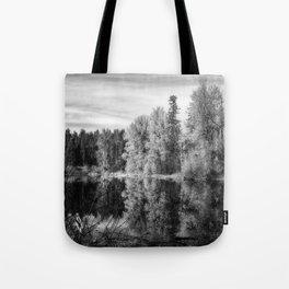 Autumn Makes an Appearance at Fish Lake bw Tote Bag