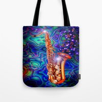 saxophone Tote Bags featuring Saxophone by JT Digital Art