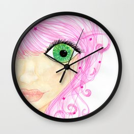 Pretty Pink Stars Wall Clock