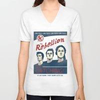 propaganda V-neck T-shirts featuring The Rebellion - Propaganda by Head Glitch