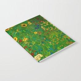 Sunflowers, Anemone, Red Poppy Flowers Farm Garden by Gustav Klimt Notebook