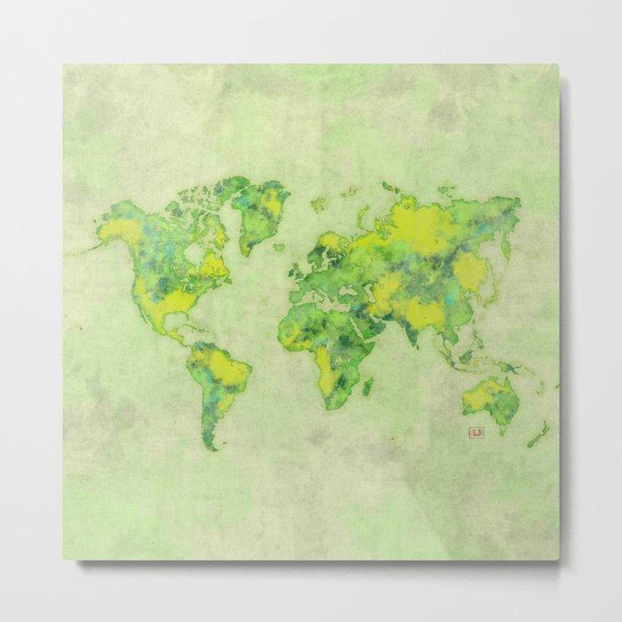 World Map Green Vintage Metal Print