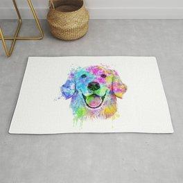 Golden Retriever Watercolor, Watercolor Dog, Golden Retriever Art Rug