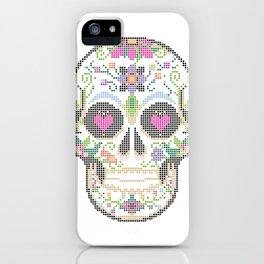 Create a Real Stitchery - Pixel Art - Day of the Dead, Cinco de Mayo, Calavera, Dia de los Muertos iPhone Case