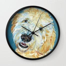 Stanley the Goldendoodle Dog Portrait Wall Clock