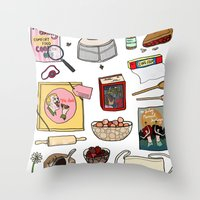 pushing daisies Throw Pillows featuring Pushing Daisies by Shanti Draws
