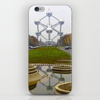 brussels iPhone & iPod Skins featuring Atomium Brussels Painted Photography by Premium