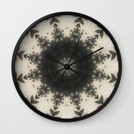 Black Lace // Geometric Abstract Mandala Black White Beige Snowflake Circle Pattern Wall Clock