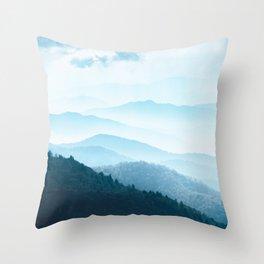 Smoky Mountain Blues - National Park Adventure Throw Pillow
