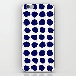 Aria - indigo brushstroke dot polka dot minimal abstract painting pattern painterly blue and white  iPhone Skin
